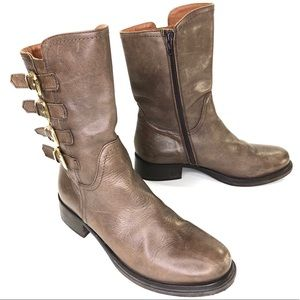 Napoleoni Taupe Made in Italy Buckle Detail Boots